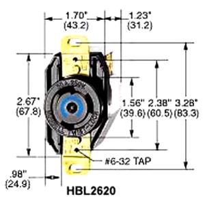 HBL2610 - Receptacle  Twist 30A 125V 2P 3W