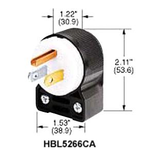 HBL5266CA - Male 15A 125V 2P 3W Angle Plug